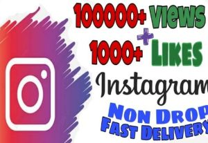 I will provide 100000+ Video Views and 1000+ Likes on Instagram!! Fast and HQ!!