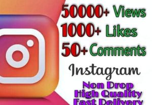 I will provide 50000+ Video Views and 1000+ Likes more over 50+ Comments on Instagram!! Fast and HQ!!