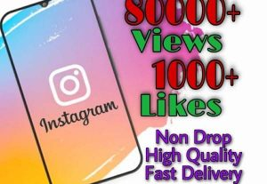 I will provide 80000+ Video Views and 1000+ Likes on Instagram!! Fast and HQ!!