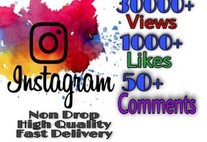 I will provide 30000+ Video Views and 1000+ Likes more over 50+ Comments on Instagram!! Fast and HQ!!