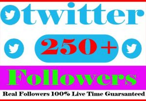 I Will provide 250+ twitter Followers Non Drop And Active User Live Time Guranteed