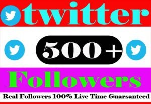 I Need Provide 500+ Twitter Followers Active User Non Drop Live Time Guranteed