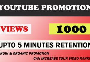 Youtube 5 minutes+ average high retention 1000 views.
