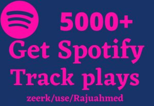 i will give 5000+ Spotify track plays Real and organic