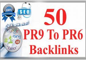 I will do 50 pr6 to pr9 Latest Update seo backlinks for google TOP ranking