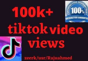i will give 100k+ Tiktok video views life time permanent non drop