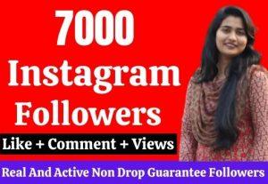7000 live followers on Instagram. Guarantee