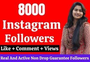 8000 live followers on Instagram. Guarantee
