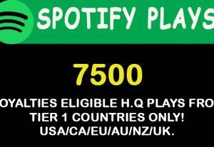 7500 Spotify plays from USA/CA/EU/AU/NZ/UK.