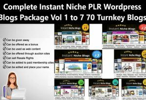 I Will give Complete Instant Niche PLR WordPress Blogs Package Vol 1 to 7 70 Turnkey Blogs