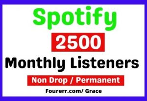 Get Instant 2500+ Spotify High-quality Monthly listeners, Non-drop, and Lifetime Permanent