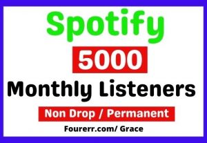 Get Instant 5000+ Spotify High-quality Monthly listeners, Non-drop, and Lifetime Permanent