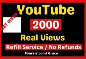Get Instant 2000+ Youtube Video Views, Almost Non-drop, and Refill Service