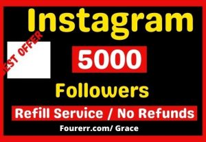 Get Instant 5000+ Instagram Followers, Almost Non-drop, and Refill Service