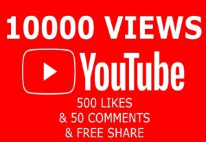 100% Real none drop 10K+ Youtube AD views & 500 likes & 50 comments