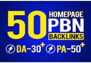 I will do 50 seo backlinks high da dofollow homepage parmanent links