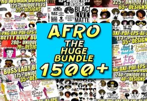 I Will give 1500+ AFRO WOMAN SVG BUNDLE