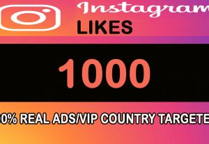 1000 Instagram Likes Real ADS/VIP Country Targeted