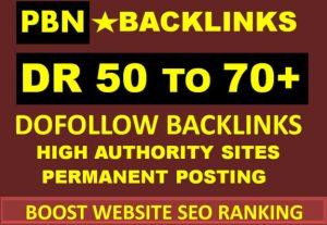 I will create 50 SEO dofollow backlinks high DR 50 to 70 drip feed