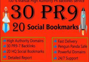 High-Quality Top 20 Social bookmarks & 30 PR9 Sites SEO Backlinks