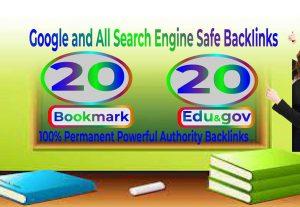 20 Bookmark & EDU/GOV High Quality SEO Backlinks