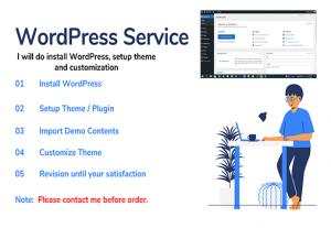I will do  install WordPress, setup theme, do edit customization