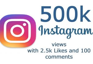 Get Instant 500K Instagram Video views with 2.5k Likes and 100 comments NON Drop Guaranteed