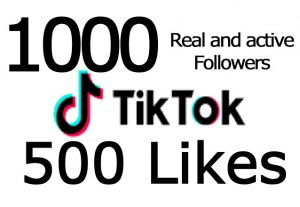 1000 TikTok followers and 500 TikTok likes from real and active user