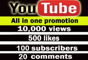 Youtube all in one promotion. 10,000 views, 500 likes, 200 subscribers, 50 comments