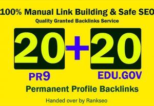 l Will Manually Do 20 PR-9 + 20 EDU/GOV Safe SEO High PR Google Ranking 2021