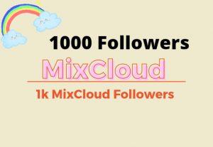 I will give you  1000 MixCloud followers lifetime guaranteed