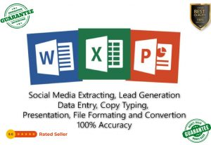I will do data entry, web research, copy-paste work, manually typing, Excell document and