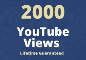 I will add 2000 YouTube views lifetime guaranteed