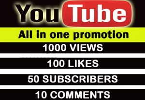 Youtube all in one promotion.1000 high retention views,100 likes, 50 subscribers,10 comments